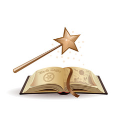 magic wand and a textbook on black magic vector image