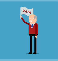 man holding a flag data vector image