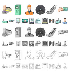 metro subway cartoon icons in set collection for vector image