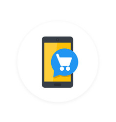 mobile shopping smartphone and cart flat icon vector image