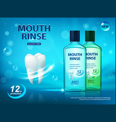 Mouth rinse dental hygiene poster ad vector