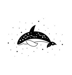 mystical whale with moon and stars stars vector image