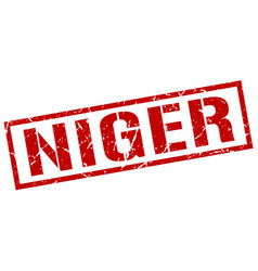 Niger red square stamp vector