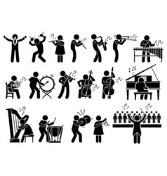orchestra symphony musicians with musical vector image