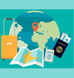 passport boarding pass visa luggage map and vector image