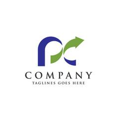 pc letter logo vector image