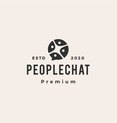 people family team chat bubble hipster vintage vector image