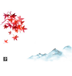red japanese maple leaves and far blue mountains vector image
