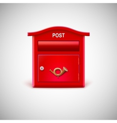 Red mailbox with postal horn vector