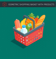 Red plastic shopping basket vector
