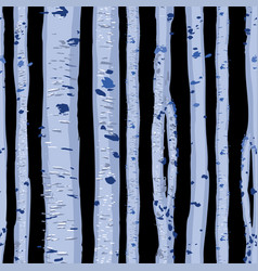 Repeated seamless pattern blue birch trees vector