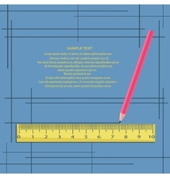 Ruler and pencil on a blue background with frames vector image