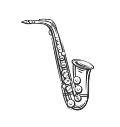 Saxophone outline icon vector