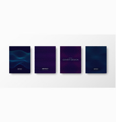 set dark blue abstract cover designs with vector image