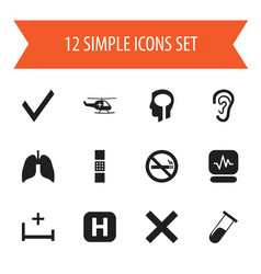 set of 12 editable health icons includes symbols vector image