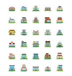 Set of city buildings icons vector