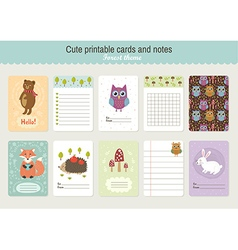 Set of Cute Printable Cards and Notes vector image