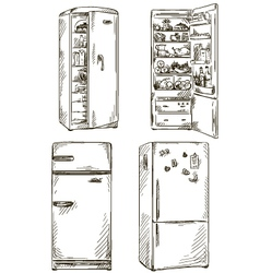 set of four hand drawn fridges vector image