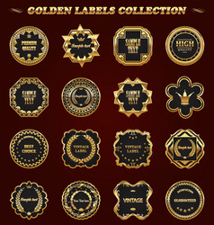 set of gold framed labels - vintage style vector image
