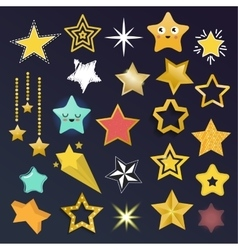 Set of shiny star icons in different style vector