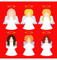 set of simple angels vector image