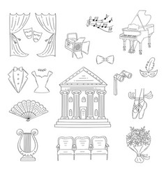 set of theater icons hand drawn doodle vector image