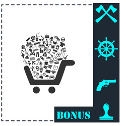 shopping cart icon flat vector image