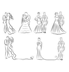 silhouette bride and groom set newlyweds sketch vector image