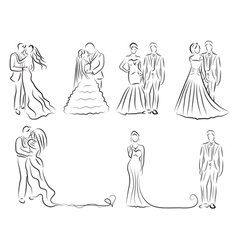 Silhouette Of Bride And Groom Set Newlyweds Sketch Vector