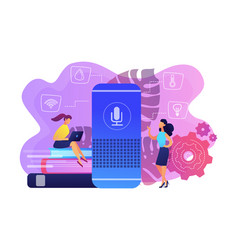 Smart home hub and home assistant concept vector