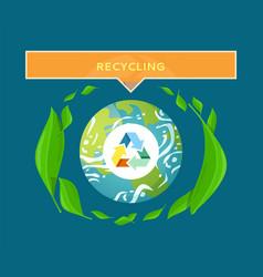 sorting trash environmental care planet vector image