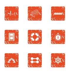 Sport era icons set grunge style vector