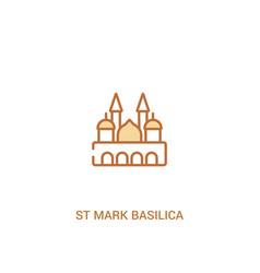 St mark basilica concept 2 colored icon simple vector