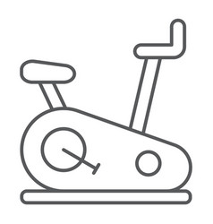 Stationary bike thin line icon sport and vector