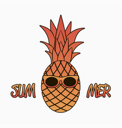 summer graphics with pineapple in sunglasses vector image