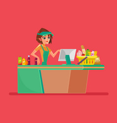 Supermarket smiling cashier woman character vector