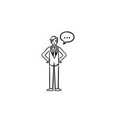 Talking person hand drawn sketch icon vector