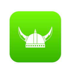 viking helmet icon digital green vector image