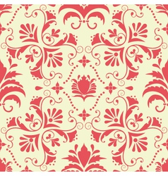 Vintage damask seamless coral pattern vector