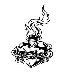 Vintage monochrome fiery heart template vector