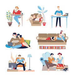 Weekends at home people with passive lifestyle vector