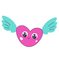 winged heart with smile on face sticker sign vector image