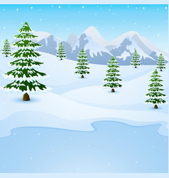 Winter mountain landscape with fir trees and froze vector