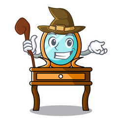 Witch dressing table mascot cartoon vector