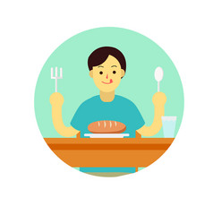 young man prepare to eat bread with spoon and vector image