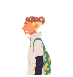 young man with backpack and fashion hairdo side vector image