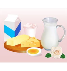 background with milk butter cheese eggs vector image vector image