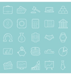 Bisiness and finance thin lines icons set vector image