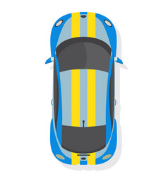 blue and yellow sport car top view in flat style vector image