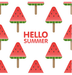hello summer letters in seamless watermelon vector image vector image